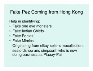 Fake Pez Coming from Hong Kong