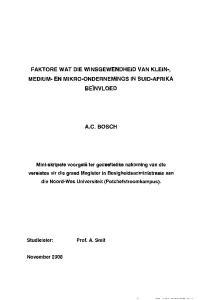 FAKTORE WAT DIE WINSGEWENDHEID VAN KLEIN-, MEDIUM- EN MIKRO-ONDERNEMINGS IN SUID-AFRIKA BEINVLOED A.C. BOSCH