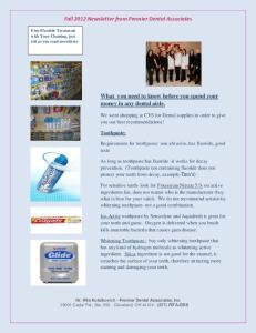 Fall 2012 Newsletter from Premier Dental Associates