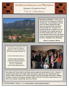 Fall 2012 Newsletter. -Kristen A. Carpenter, Director