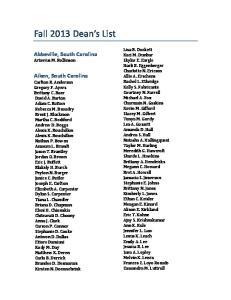 Fall 2013 Dean s List