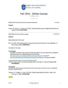 Fall 2016 Online Courses Textbook List