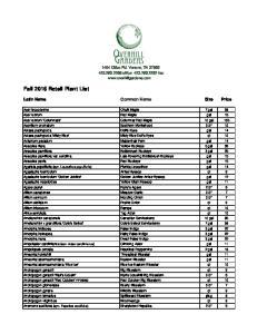 Fall 2016 Retail Plant List