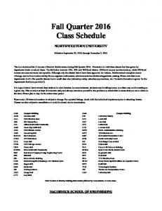 Fall Quarter 2016 Class Schedule