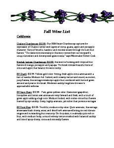 Fall Wine List. California