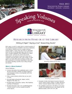 FALL Writing A Paper? Buying a Car? Researching Stocks? Winchester Public Library