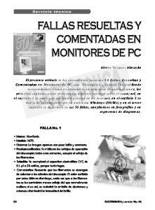 FALLAS RESUELTAS Y COMENTADAS EN MONITORES DE PC