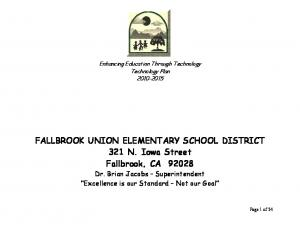 FALLBROOK UNION ELEMENTARY SCHOOL DISTRICT 321 N. Iowa Street Fallbrook, CA 92028