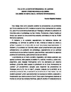 FALLO DE LA CORTE INTERNACIONAL DE JUSTICIA SOBRE LITIGIO NICARAGUA-COLOMBIA. COLOMBIA DE ESPALDAS AL DERECHO INTERNACIONAL