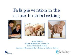 Falls prevention in the acute hospital setting