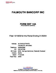FALMOUTH BANCORP INC