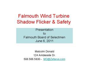 Falmouth Wind Turbine Shadow Flicker & Safety