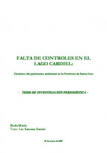 FALTA DE CONTROLES EN EL LAGO CARDIEL: