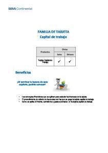 FAMILIA DE TARJETA Capital de trabajo