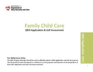 Family Child Care QRIS Application & Self Assessment