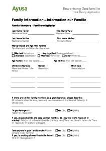 Family Information Information zur Familie