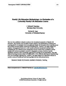 Family Life Education Methodology: An Evaluation of a University Family Life Education Course
