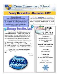 Family Newsletter - December 2012
