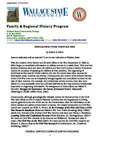 Family & Regional History Program