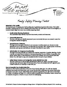 Family Safety Planning Toolkit