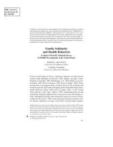 Family Solidarity and Health Behaviors