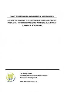 FAMILY THERAPY IN CHILD AND ADOLESCENT MENTAL HEALTH:
