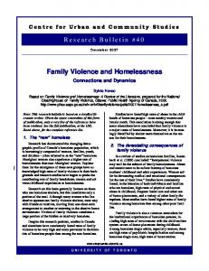 Family Violence and Homelessness
