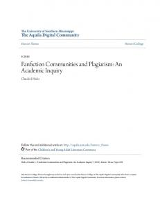Fanfiction Communities and Plagiarism: An Academic Inquiry