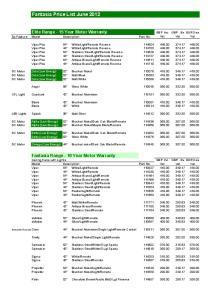Fantasia Price List June 2012