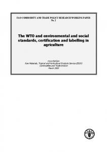 FAO COMMODITY AND TRADE POLICY RESEARCH WORKING PAPER No. 2