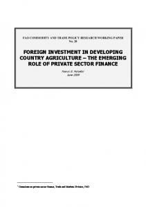 FAO COMMODITY AND TRADE POLICY RESEARCH WORKING PAPER No. 28