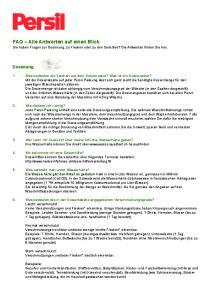 FAQ Alle Antworten auf einen Blick