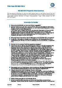 FAQ-Liste ISO 9001:2015