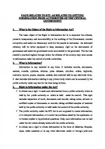 FAQ S RELATED TO RTI -AS RELATED TO GETTING INFORMATION FROM AUTHORITIES OF THE CENTRAL GOVERNMENT