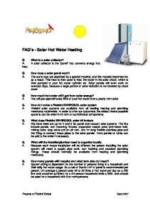 FAQ s - Solar Hot Water Heating