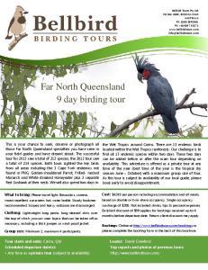 Far North Queensland 9 day birding tour