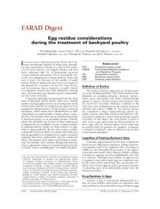 FARAD Digest. In recent years, backyard poultry flocks have become. Egg residue considerations during the treatment of backyard poultry