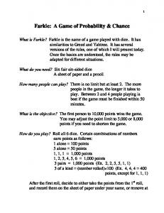 Farkle: A Game of Probability & Chance