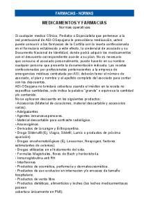 farmacias - normas MEDICAMENTOS Y FARMACIAS Normas operativas
