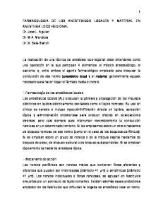 FARMACOLOGIA DE LOS ANESTESICOS LOCALES Y MATERIAL EN ANESTESIA LOCO-REGIONAL Dr. Jose L. Aguilar Dr. M.A. Mendiola Dr. X