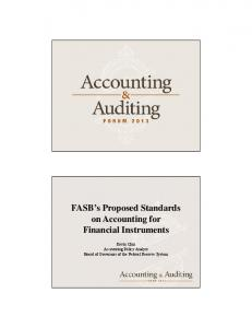 FASB s Proposed Standards on Accounting for Financial Instruments
