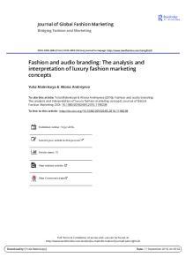 Fashion and audio branding: The analysis and interpretation of luxury fashion marketing concepts
