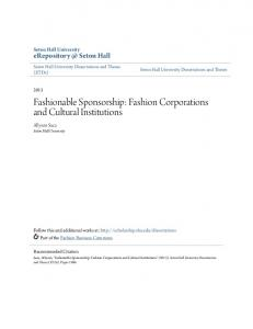 Fashionable Sponsorship: Fashion Corporations and Cultural Institutions