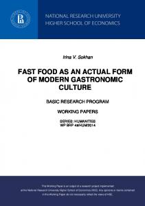 FAST FOOD AS AN ACTUAL FORM OF MODERN GASTRONOMIC CULTURE
