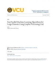 Fast Parallel Machine Learning Algorithms for Large Datasets Using Graphic Processing Unit