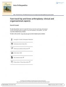 Fast-track hip and knee arthroplasty: clinical and organizational aspects