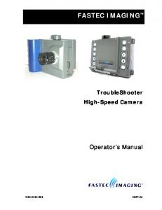 FASTEC IMAGING. Operator s Manual. TroubleShooter High-Speed Camera B