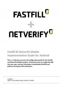 Fastfill & Netverify Mobile Implementation Guide for Android