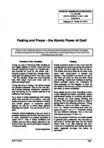 Fasting and Prayer - the Atomic Power of God!