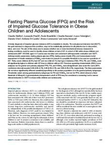 Fasting Plasma Glucose (FPG) and the Risk of Impaired Glucose Tolerance in Obese Children and Adolescents